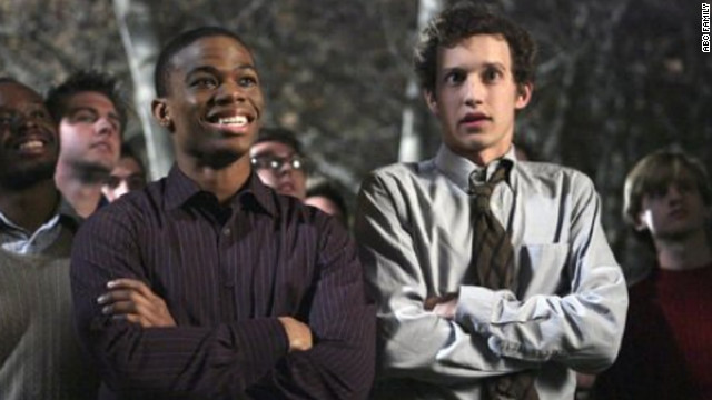 Greek's Calvin Owens, left, played by Paul James, originally struggled to come out to his Omega Chi fraternity brothers on the show, which aired on ABC Family from 2007 to 2011.