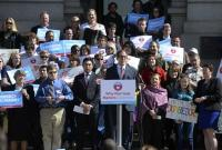 Colorado Speaker of the House Mark Ferrandino, who spearheaded legislation to pass civil unions, addressed the crowd on Monday, March 3, 2014, saying now