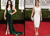 Conchita Wurst and Felicity Huffman at the 2015 Golden Globes