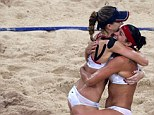 Kerri Walsh (left and right) and Misty May-Treanor (right) her teammate s have praised their bikinis as the natural uniform for the popular Olympic sport