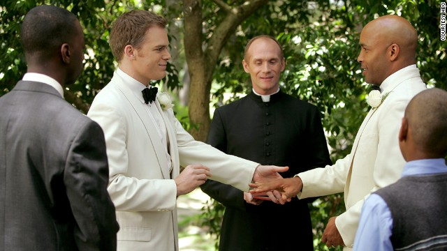 Critics hailed the realistic portrayal of the relationship between David Fisher (Michael C. Hall, left) and Keith Charles (Mathew St. Patrick) on Six Feet Under.